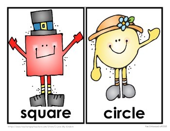 Shapes Emergent Reader With Picture Word Cards and Writing Paper!