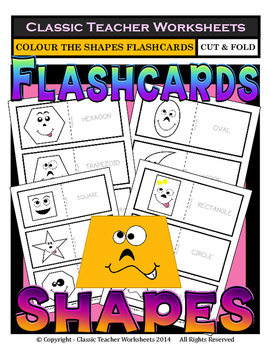 Shapes with Faces Flashcards-Colour Flashcards-Kindergarte