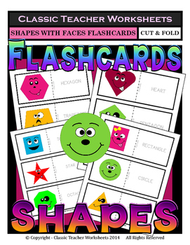 Shapes with Faces Flashcards - Cut & Fold - Kindergarten t