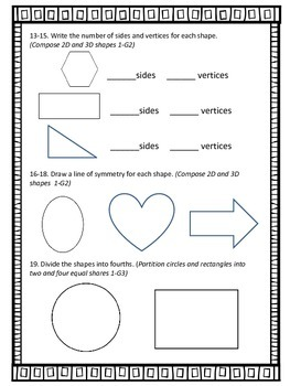 Shapes Fractions Symmetry Graphs Test CCRS Aligned