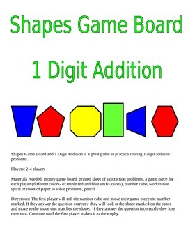 Shapes Game Board and 1 Digit Addition Game