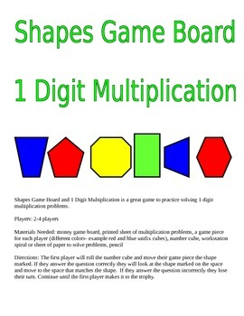 Shapes Game Board and 1 Digit Multiplication Game
