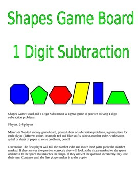 Shapes Game Board and 1 Digit Subtraction Game