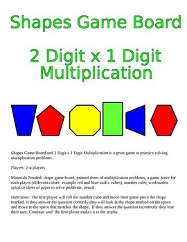 Shapes Game Board and 2 Digit x 1 Digit Multiplication Game