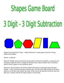Shapes Game Board and 3 Digit - 3 Digit Subtraction Game