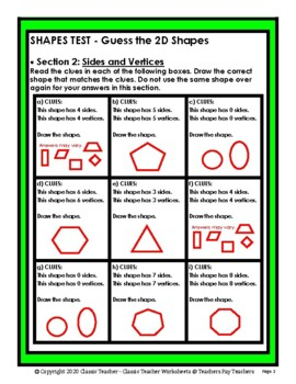 Guess the 2D Shapes - Draw Shapes that Match Clues - Grades 3-4 (3rd-4th Grade)