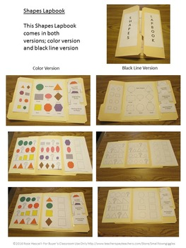 Shapes Interactive Color and Black Line Lapbook-PK, K, Special Education, Autism