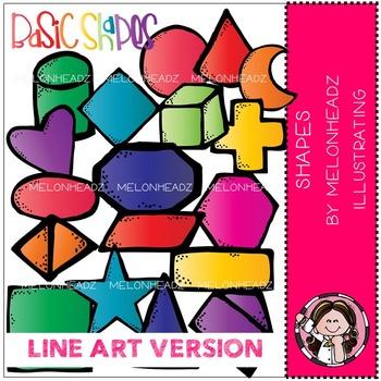 Shapes clip art - LINE ART- by Melonheadz