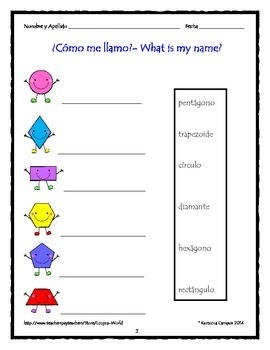 Shapes: Label in Spanish