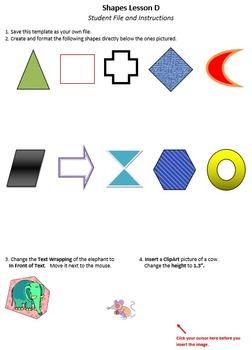 Shapes Lesson D Technology Lesson Plan & Materials