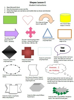 Shapes Lesson E Technology Lesson Plan & Materials