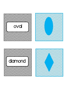 Shapes Match Up Cards in Chevron Print