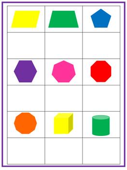 Shapes Matching Work Mats.  Printable Preschool Curriculum Game