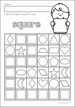 Shapes Maze No Prep Worksheets