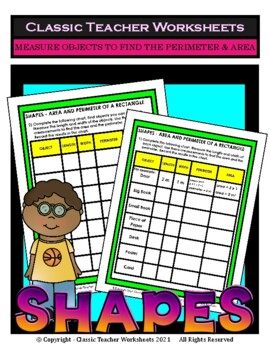 Shapes-Measure Objects to Find the Area and Perimeter-Grades 3-6 (3rd-6th Grade)
