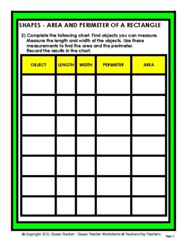 Shapes-Measure Objects to Find the Area and Perimeter-Grades 4-6 (4th-6th Grade)