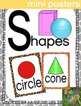 Shapes Mini Posters 2D and 3D- Safari Theme
