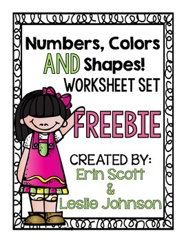 Numbers, Colors, and Shapes (worksheet set)