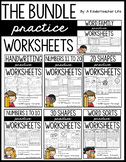 Shapes, Numbers and Letters - Practice Worksheets Bundle