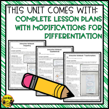 Shapes, Objects and Transformations Interactive Notebook Grades 5-6