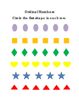 Shapes Ordinal Set 1 First Second Third Sequencing Math Critical Thinking 3 pgs