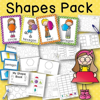 Shapes Pack Posters, Book to Create, Matching Cards, Game, Activity Sheets