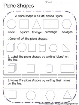 shapes plane and solid worksheets and anchor charts tpt. Black Bedroom Furniture Sets. Home Design Ideas