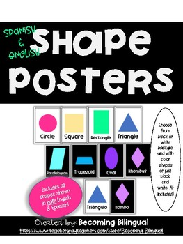 Shapes Posters ENGLISH + SPANISH Bright Colors and Black + White
