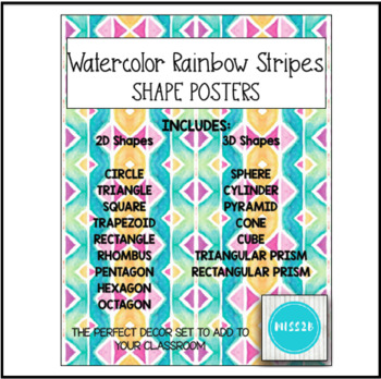Shapes Posters - Watercolor Rainbow Stripes Classroom Decor