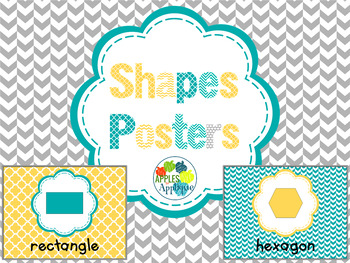 Shapes Posters in Yellow Teal and Gray