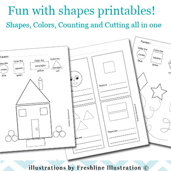 Shapes Printable, Color By Number, Numbers, Math, Kindergarden, 1st