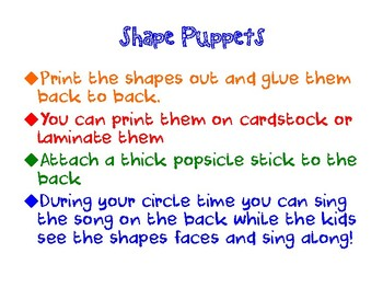Shapes Puppets and Songs