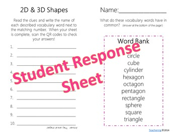 2D and 3D Shapes Task Cards with QR Codes