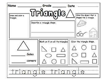 Shapes Review Worksheets for Kindergarten :