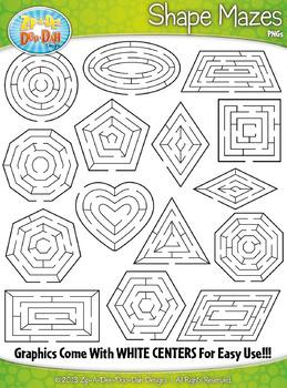 2D Shapes Shaped Mazes Clipart {Zip-A-Dee-Doo-Dah Designs}