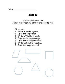 Shapes Shuffle: Get to know the shapes for the First Grade Common Core