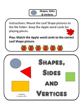 Shapes, Sides and Vertices: File Folder Activity
