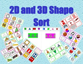 Shapes Sort!  2D and 3D Bundle #sorting mats included