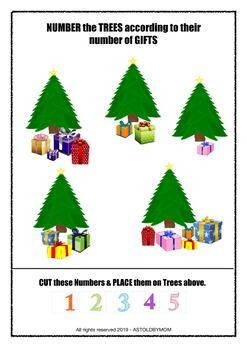 Shapes Sorting Math Center Preschool, Kindergarten Activity - Christmas Theme