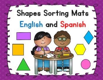 Shapes Sorting Mats: Dual Language Center English and Spanish