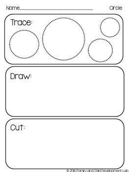 Shapes: Trace, Draw, Cut (2-D Shapes) Kindergarten/ Preschool Geometry