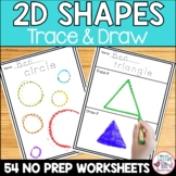 2D Shapes Worksheets Trace & Draw | 18 Shapes Included