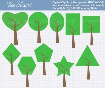 Shapes Trees clip art - set of 10 clip arts