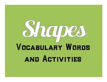 Shapes Vocabulary and Activities