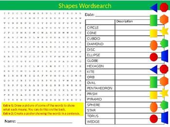 Shapes Wordsearch Puzzle Sheet Keywords Activity Math Mathematics