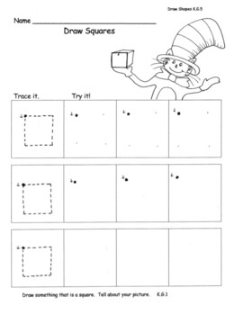 Draw Flat Shapes Common Core Aligned 12 pg: Cat Hat Theme