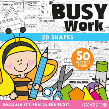 shapes worksheet packet busy work for 2d shapes by from the pond. Black Bedroom Furniture Sets. Home Design Ideas