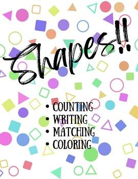 Shapes Worksheet Set - Identify Shapes, Color Shapes, Match Shapes