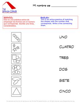 Shapes Worksheets / Las formas en español