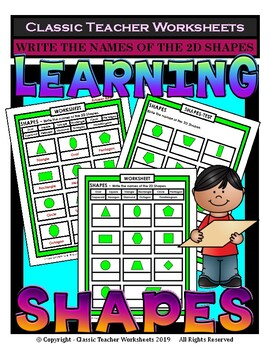 Shapes - Write the Names of the 2D Shapes - Grades 3-6 (3r